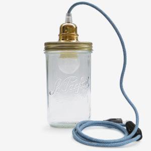 lampe bocal recycle le parfait fil bleu couvercle doré