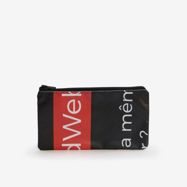 25dos Trousse plate en bâche publicitaire recyclée noire.