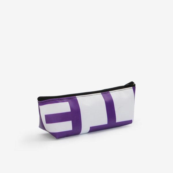 36 dos de Trousse en bâche publicitaire recyclée violette.