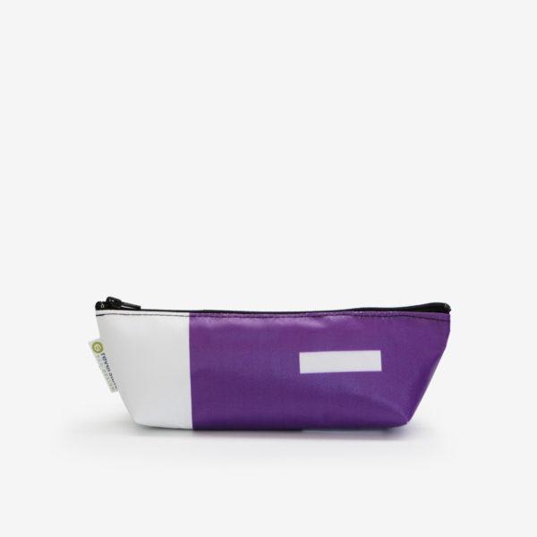 41 Trousse en bâche publicitaire recyclée violette.
