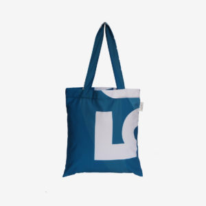 02 dos de tote bag en toile publicitaire bleue.