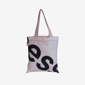 04 tote bag en toile publicitaire blanche et rose.