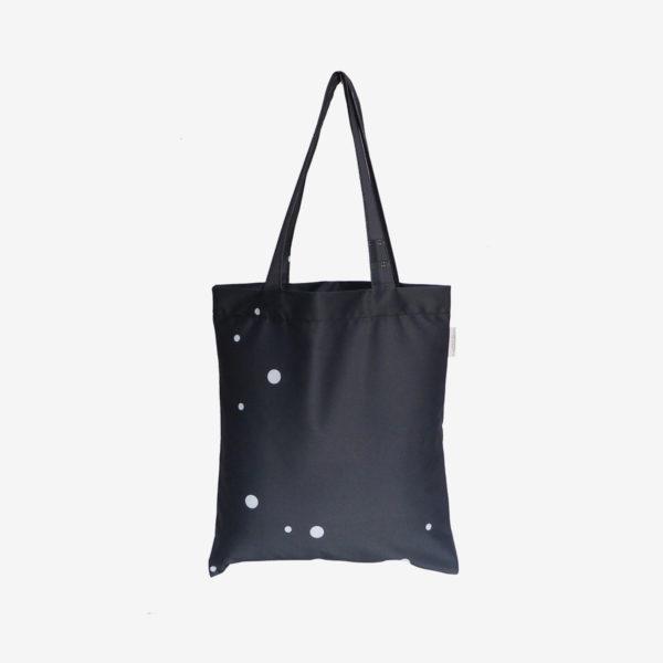 12 Dos de tote bag en toile publicitaire noire.