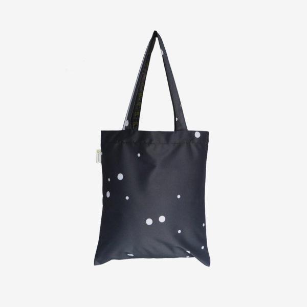 12 tote bag en toile publicitaire noire.