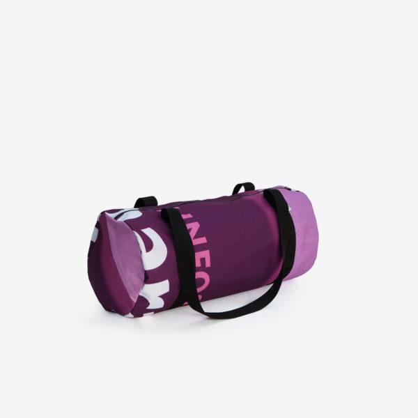15 sac de sport en toile publicitaire violette.
