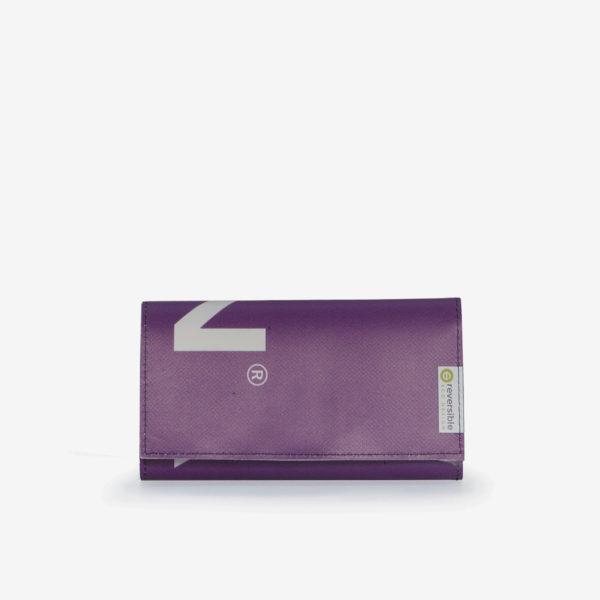 47 Portefeuille en bâche publicitaire violette.
