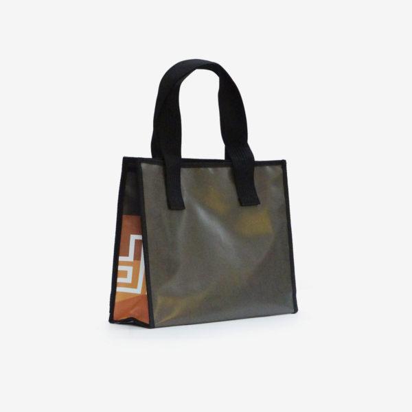 48 dos de sac cabas en bâche publicitaire tons beige.