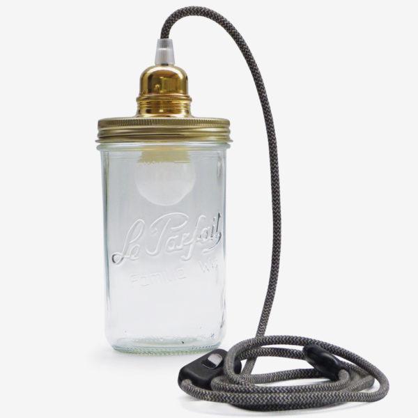 lampe bocal recycle le parfait fil noir couvercle doré
