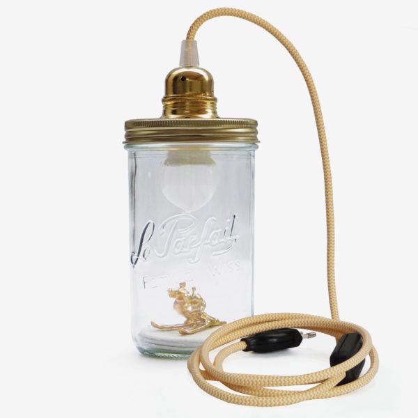 lampe bocal recycle le parfait fil jaune couvercle doré