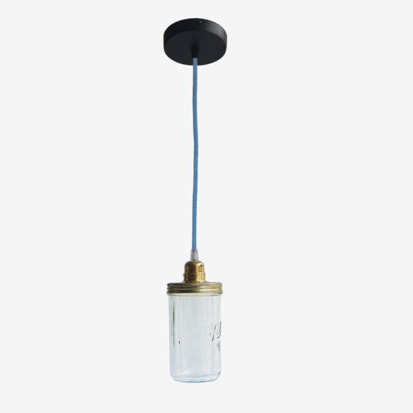 Suspension bocal le Parfait avec couvercle doré et fil bleu.