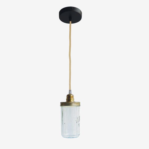 Suspension bocal le Parfait avec couvercle doré et fil jaune.