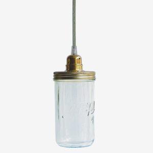 Suspension bocal le Parfait avec couvercle doré et fil vert.