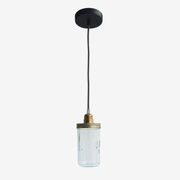 Suspension bocal le Parfait avec couvercle doré et fil noir.