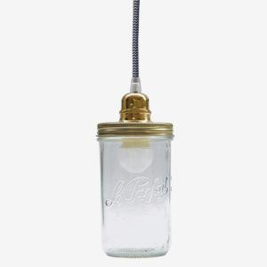 Suspension bocal le Parfait. Couvercle doré et fil zig zag noir et blanc.