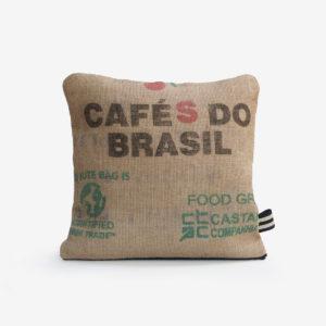 1 housse de coussin carrée en toile de jute de café
