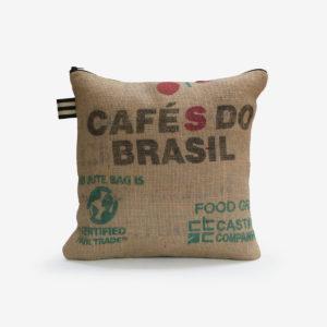 11 housse de coussin carrée en toile de jute de café