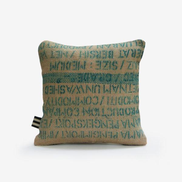 19 housse de coussin carrée en toile de jute de café