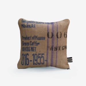 6 housse de coussin carrée en toile de jute de café