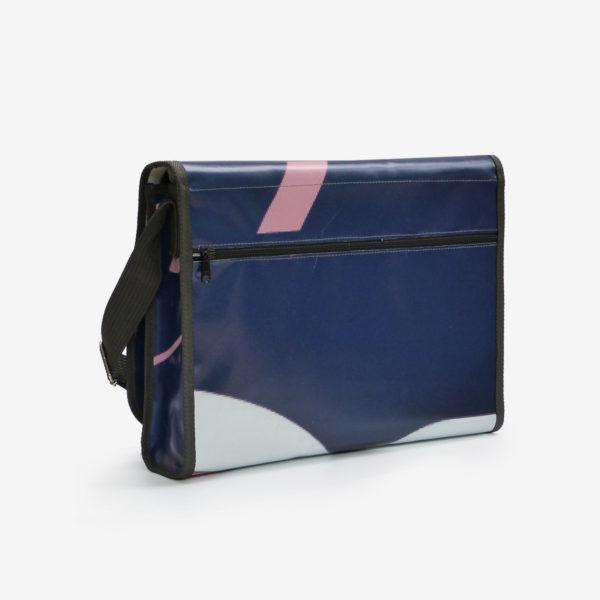 1dos-Sacoche graphique en bâche publicitaire bleu et rose.